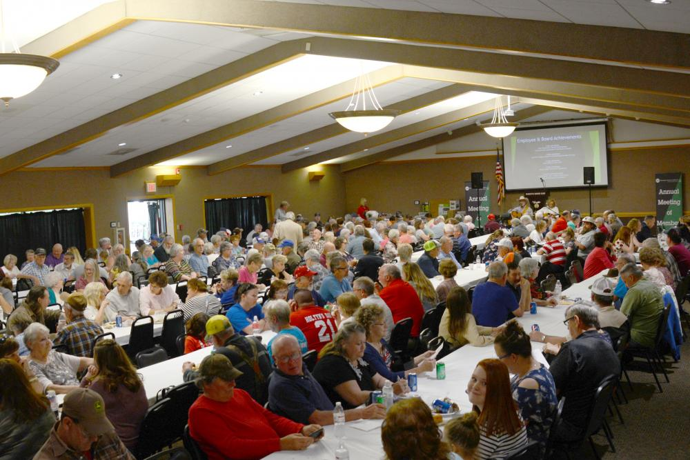 A picture showing 300 Washington Electric Cooperative members gathered for dinner at the annual meeting