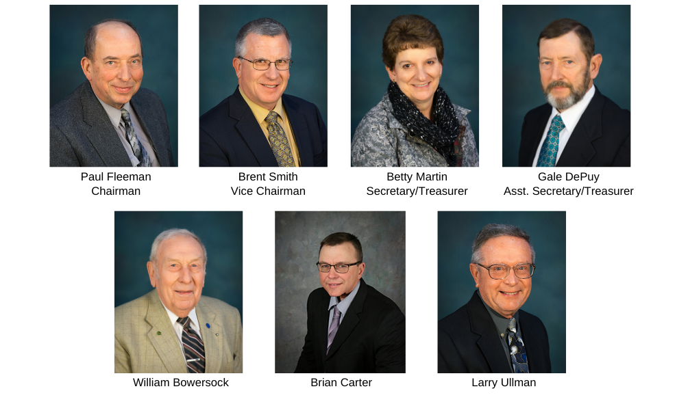 Seven headshot photos of the members of the Washington Electric Cooperative Board of Trustees
